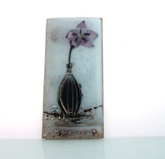 Hand Painted pink flowers in  Black and White Vase by virtulyglass, $42.00