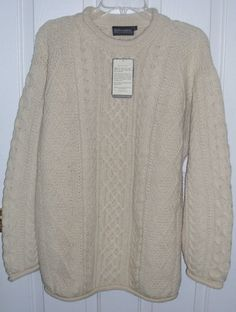 New Fisherman Sweater Men's Large Cream Ireland Wool White Cable Knit | eBay