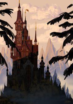 The Art of Daemion Elias George-Cox Rough little Romanian castle Character Design, Fantasy Art, Art Background, Animation Art, Fairytale Illustration, Illustration Art, Castle Illustration, Art, Environmental Art