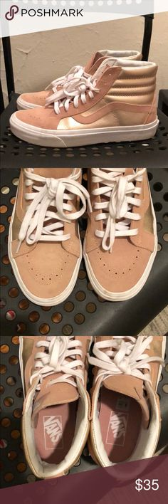 0ae964343e5236 Vans Leather High Tops Blush Sneakers size 9 women