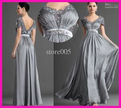 Wholesale Mother of the Bride Dresses - Buy 2014 New Fashion Silver Short Sleeve Lace Mother of the Bride Dresses Evening Gowns Chiffon M1778, $122.0   DHgate