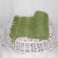 Angel Hair Soft Lime Green Knit Scarf by StitchinGalTX on Etsy