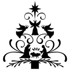 Silhouette Design Store: nativity christmas tree
