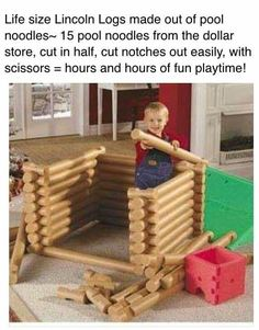 Life size Lincoln Logs made out of pool noodles. 15 of them from the dollar store and cut to size. Notches also cut with scissors.
