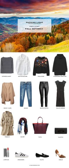 Travel outfit - What to Pack for a 4 Day fall Getaway Packing Light List. Definitely would need to change the pieces but good for a general idea of the types of things to pack. Weekend Packing List, Vacation Packing, Travel Packing, Packing Tips, Smart Packing, Travel Wardrobe, Capsule Wardrobe, Travel Outfits, Fall Travel Outfit