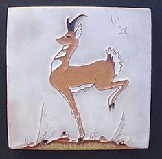 Daniel Nash Tile Of Hopping Deer Antique Tiles, Desert Homes, Making Out, Deer, Mosaic, Moose Art, Pottery, Antiques, Crafts