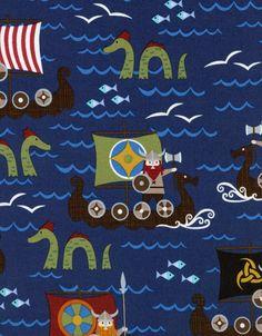 Organic Vikings on Boats Fun Kidz Navy Blue Cotton Fabric by Timeless Treasures - 1 yard. $9.99, via Etsy.