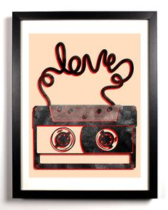 Old School Cassette Tape Love, Art Print, 8 x 10 $9.99 A CASETTE OF YOUR FIRST DANCE SONG