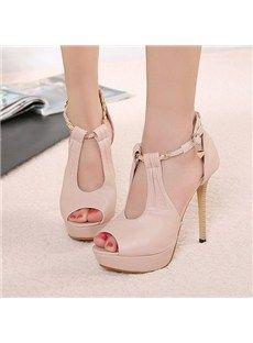 Elegant Light Pink Stiletto Heels Peep-toe Platform Sandals - Shoespie.com