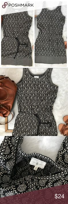 Lou & Grey Black white tank dress cinched Waist XS Excellent condition Lou & Grey Dresses