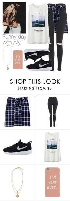"""Funny day with Ally."" by fireproofnarry ❤ liked on Polyvore featuring Madewell, Topshop, NIKE, Uniqlo and H&M"