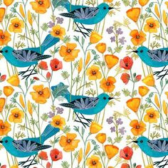 Blue Bird Fabric Blue Birds on Yellow Floral by MakingStuffUP