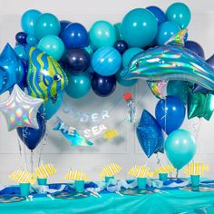 Shop our Blue Mix Balloon Garland for your next party or event. Perfect for Under The Sea Themes or Baby Showers. Bubblegum Balloons, Balloon Clouds, Mini Balloons, Blue Balloons, Confetti Balloons, Balloon Garland, Paper Confetti, Blue Party Decorations, Birthday Decorations