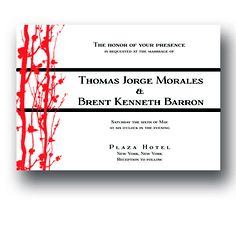 Branches Gay Wedding Invitation Suite by Two Guys Wed
