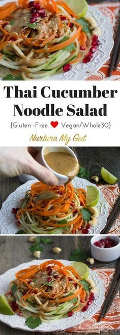 Easy Thai Cucumber Noodle Salad-tossed in a homemade ginger sesame dressing and garnished with fresh pomegranate seeds, cashews and sesame seeds. Ready in 15 minutes! Gluten free, vegan and Whole30 friendly. Rich in B-vitamins, fiber and anti-inflammatory foods.