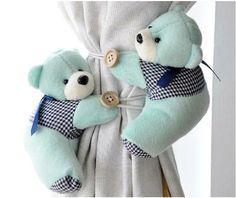 Amazon.com - A Pair Baby Kid Toddler Child Infant Nursery Room Bedroom Animal Cartoon Plush Teddy Bear Window Curtain Tieback Tie Back Decor Holder Buckle Holdback Belt Hooks Clip Clasps Toy (Green) -