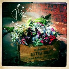 Dramatic rustic flower arrangement  in box for an entry table.( Aubrei , mom, mericks) different colors.