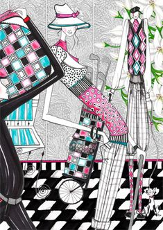 Kerstin Wacker - Fashion Illustrator Research This image caught my eye because of all the different things going on such as the prints and the pops of colour here and there and also the silhouette used is so different but it looks so good and quirky, its a real eye catcher.