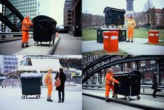 'A group of garbage men in Hamburg have figured out a way to combine their love of photography w/ their work of hauling trash, turning large dumpsters into giant pinhole cameras to photograph their city. The dumpsters are converted by drilling tiny holes into the fronts and then hanging large sheets of photo paper inside. Although framing a shot with the giant rolling cameras takes only a minute, exposing it can take up to an hour of waiting. They've dubbed the experiment the Trashcam…