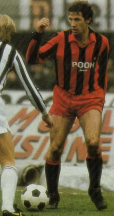 """A young Franco Baresi dressed in the infamous """"Pooh Jeans"""" Milan shirt. This must be the 81/82 season. (via The Football Image Sharing)"""