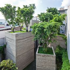 Trees grow on rooftops of Vietnam house by Vo Trong Nghia Architects.