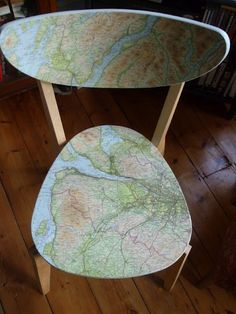 map chair - using an IKEA chair, map, glue... love the outside the box thinking... IKEA Hackers