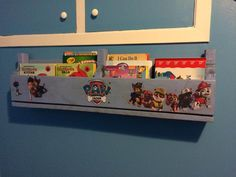 Best Paw Patrol Bookshelf available! Handmade from solid wood and holds up to 40 books! #paw #patrol #bookshelf