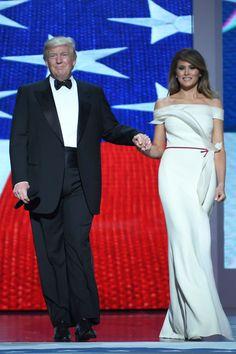 Melania Trump Wears Hervé Pierre to the Inaugural Ball  - HarpersBAZAAR.com