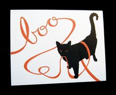 Boo! Black cat  Halloween card