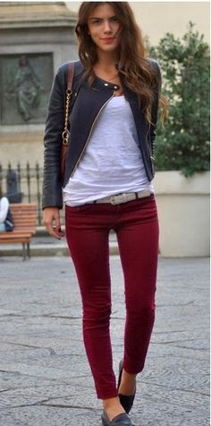 burgundy jeans, leather jacket, white tee