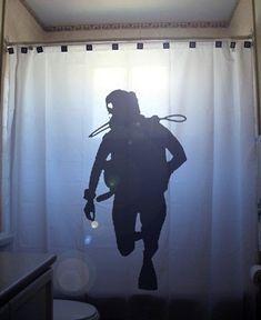 Scuba Diver Shower Curtain Bathroom Decor by CustomShowerCurtains Sea Diving, Scuba Diving Gear, Cave Diving, Scuba Diving Magazine, Diver Tattoo, Scuba Tattoo, Kid Bathroom Decor, Bathroom Ideas, Deep Sea Diver