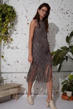 Taupe Fringed Dress by Laura Siegel - Spring 2017 Ready-to-Wear