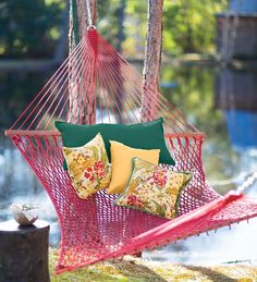 Weather-Resistant Cotton-Feel DuraCord Rope Hammock for relaxing.