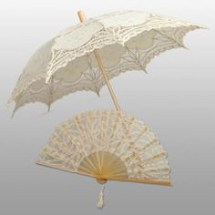 Beige Elegant Adult Lace Umbrella & Fan Set