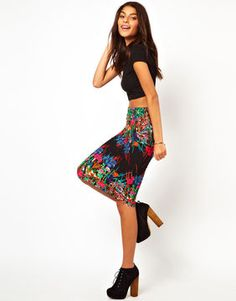shopstyle.com: ASOS Pencil Skirt in Mirror Floral Placement Print