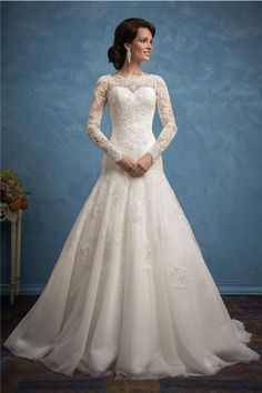 Modest Trumpet High Neck Long Sleeve Tulle Lace Wedding Dress With Buttons