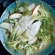 Broiled Tilapia with Frisee-Apple Salad and Mustard-Parsley Sauce by Cooking Light