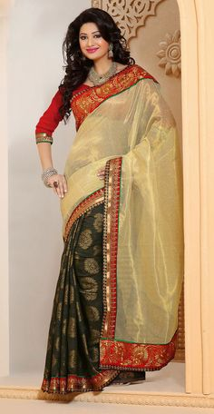 Designer Black and Cream Cotton with Jacquard with Linen with Net Half And Half Saree - IG331351USD $ 52.76