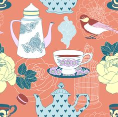 teatime - coral fabric by mirabelleprint on Spoonflower - custom fabric
