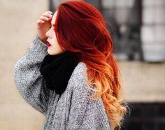 sweater red hair ombre hair dip dye hair grey sweater black scarf scarf