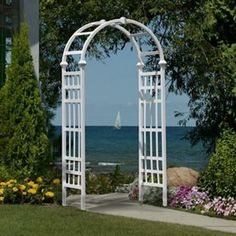 New White Arbor Trellis Pergola Garden Yard Decor Backyard Wedding Arch Archway