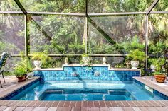 Tropical Hot Tub with Skylight, exterior stone floors