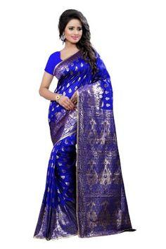 MADHAV RETAIL - Color: Blue Banarasi Cotton Silk Sarees With Unstiched Blouse Piece