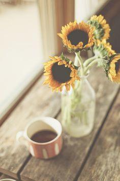 coffee and sunflowers