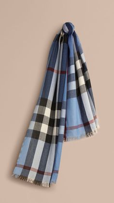 Pale sky blue Lightweight Check Wool Cashmere Scarf Pale Sky Blue - Image 1