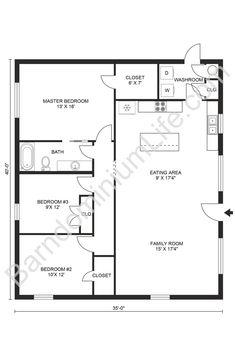 3 Bedroom Home Floor Plans, Barn Homes Floor Plans, Three Bedroom House Plan, Barndominium Floor Plans, Barn House Plans, New House Plans, Cabin Plans, Small House Plans, House Floor Plans