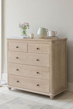 This oak chest of drawers is inspired by a lovely old porcelain sink we saw which had a reassuringly chunky lip. Chest Furniture, Bedroom Furniture, Wooden Furniture, Furniture Storage, Bedroom Decor, Bedroom Chest Of Drawers, Chest Drawers, Drawer Design, Decorating Rooms