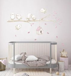 Lovely nursery prints and reposicionable fabric wall decals made with love by AidaZamora Bird Wall Decals, Wall Decals For Bedroom, Baby Bedroom, Baby Room Decor, Nursery Art, Nursery Decor, Casa Loft, Deco Kids, Baby Room Colors