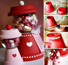 Flower Pot Gumball Candy Machine - DIY Home Decoration Ideas for Valentine's Day. Flower Pot Gumball Candy Machine – DIY Home Decoration Ideas for Valentine's Day. Easy to make Valentine Day Crafts, Valentine Decorations, Holiday Crafts, Holiday Fun, Homemade Valentines, Valentine Ideas, Teacher Valentine, Parties Decorations, Valentine Stuff