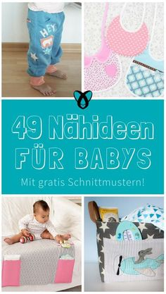 49 Nähideen für Babys – 49 kostenlose Schnittmuster zur Geburt Mama Baby, Baby Co, Baby Kids, Sewing Projects For Kids, Sewing For Kids, Baby Sewing, Baby Party, Baby Knitting, Overalls